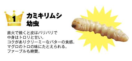 1 カミキリムシ【幼虫】:直火で焼くと皮はパリパリで中身はトロリと甘い。コクがありクリーミーなバターの食感。マグロのトロの味にたとえられる。ファーブルも絶賛。